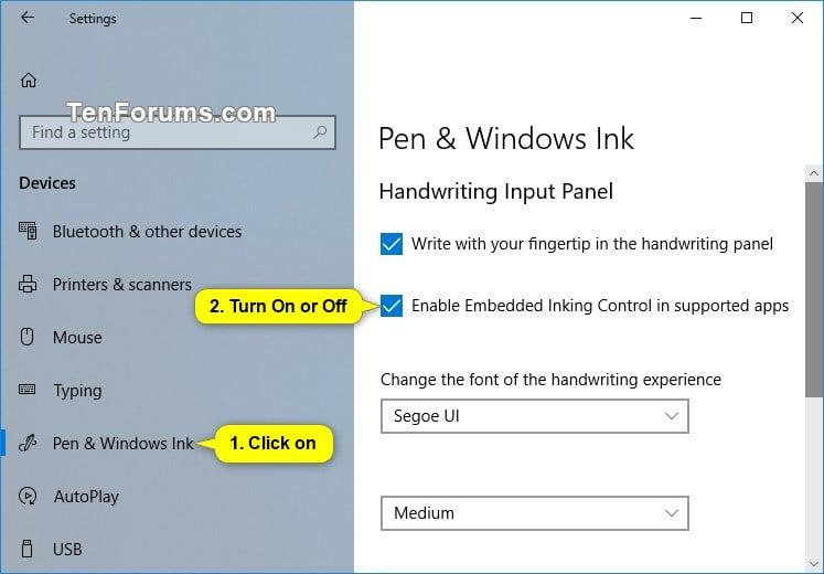 turn on or off embedded handwriting panel in windows 10 tutorials. Black Bedroom Furniture Sets. Home Design Ideas