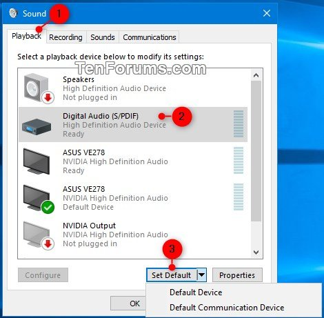 Change Default Audio Playback Device in Windows 10 | Tutorials
