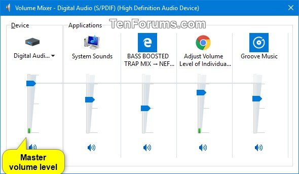 Adjust Volume Level of Individual Devices and Apps in