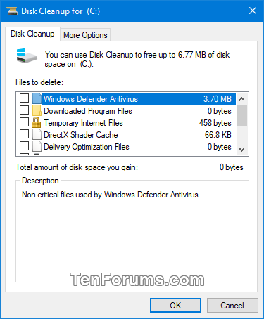 Check or Uncheck All Items in Disk Cleanup by Default in