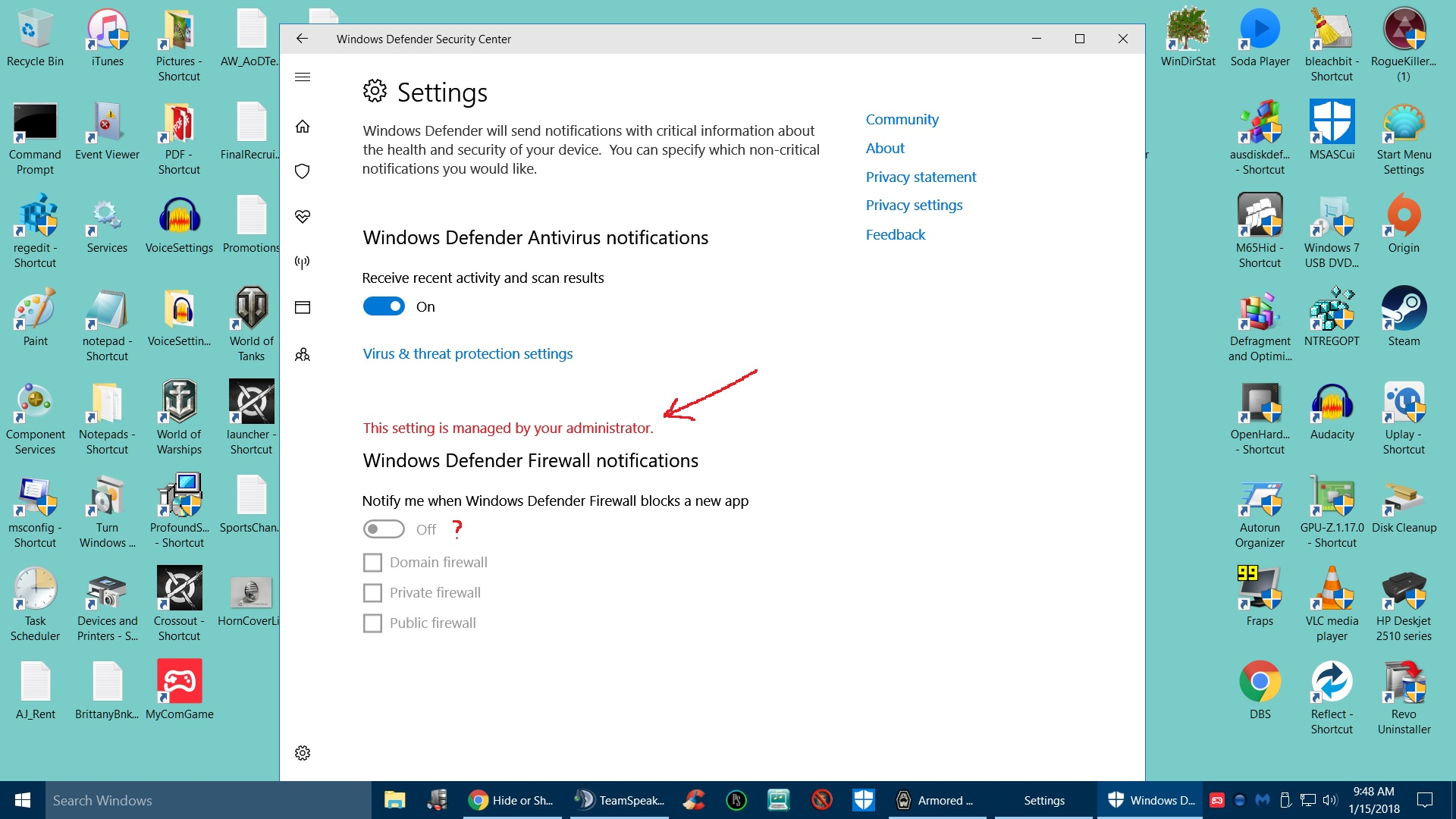 how to turn off nptifications on security master
