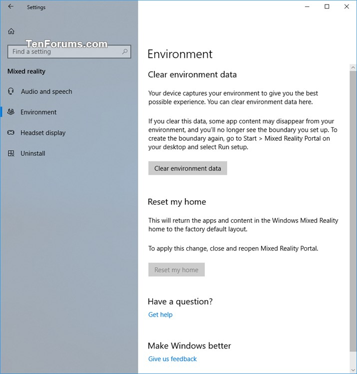 Add or Remove Mixed Reality page from Settings in Windows 10