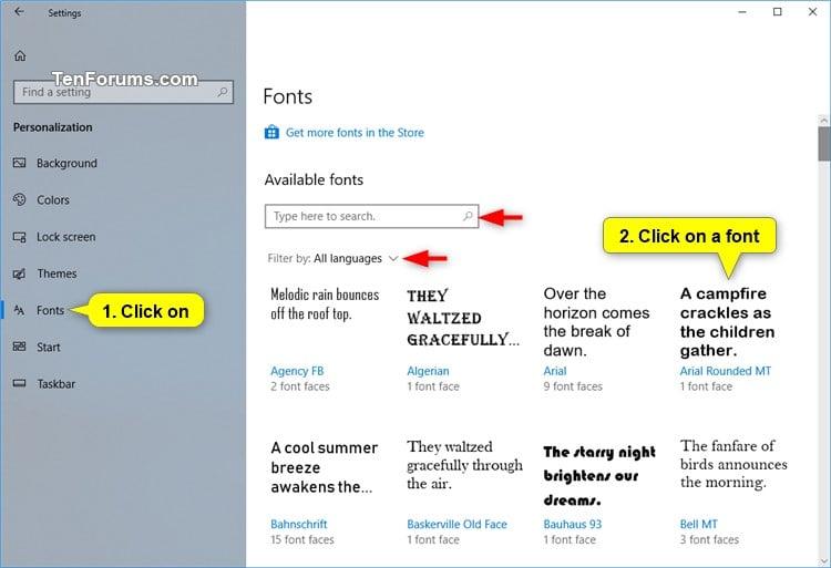 fonts windows 10