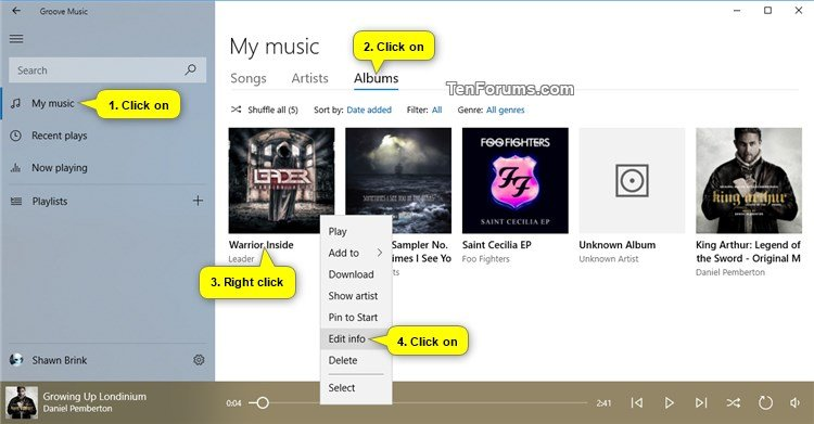 Edit Song and Album Metadata Info in Groove Music app in