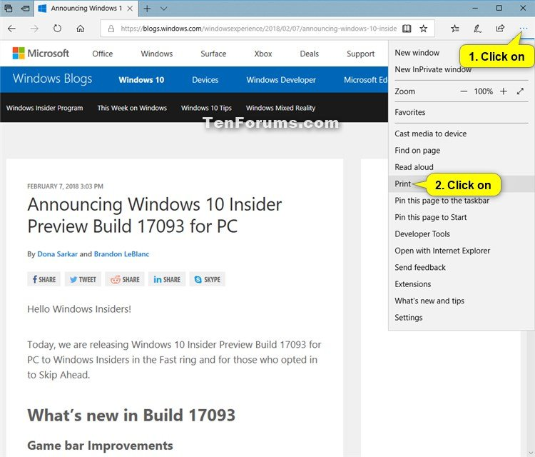 Print Clutter-Free Webpages in Microsoft Edge | Tutorials