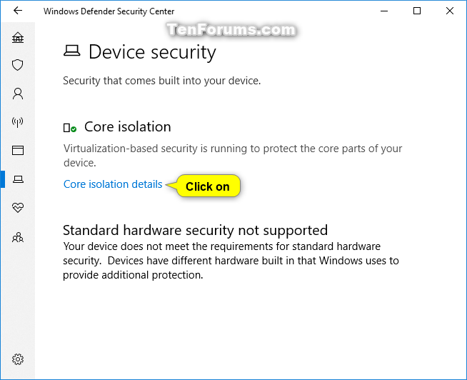 Turn On or Off Core Isolation Memory Integrity in Windows 10