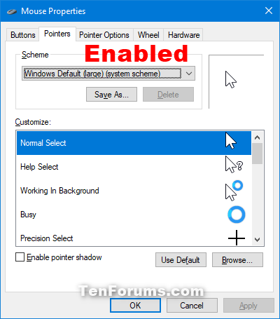 Enable or Disable Changing Mouse Pointers in Windows | Tutorials