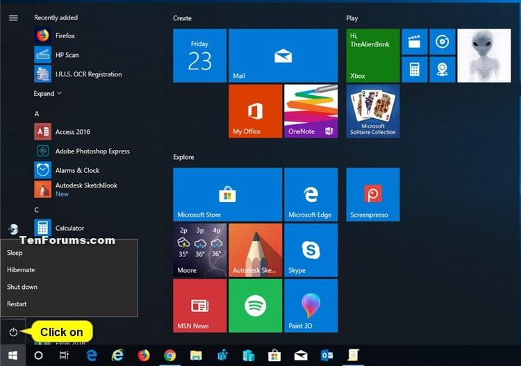 Add or Remove Hibernate from Power menu in Windows 10 | Tutorials