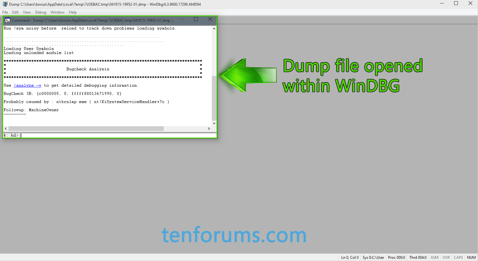 WinDBG - The Basics for Debugging Crash Dumps in Windows 10