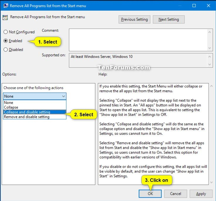 Add or Remove All Apps List in Start Menu in Windows 10