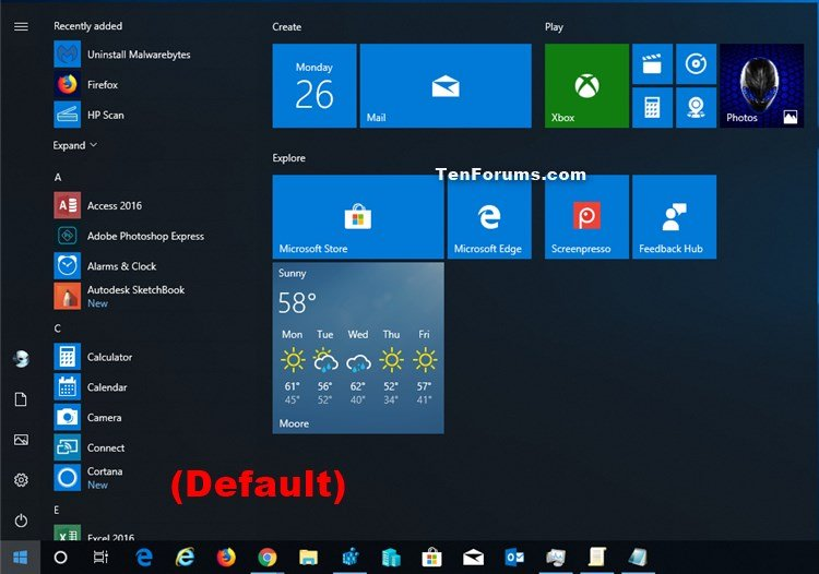 Add or Remove All Apps List in Start Menu in Windows 10