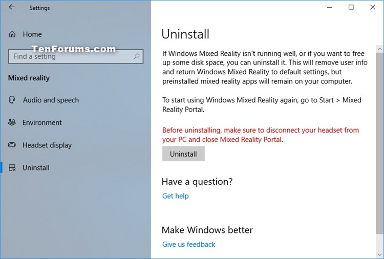 Add or Remove Mixed Reality page from Settings in Windows 10-mixed-reality-uninstall-settings.jpg
