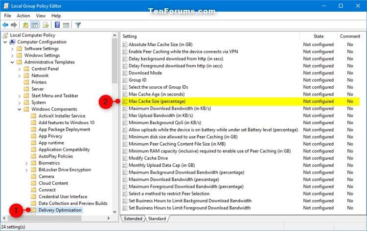how to change windows update cache windows 10