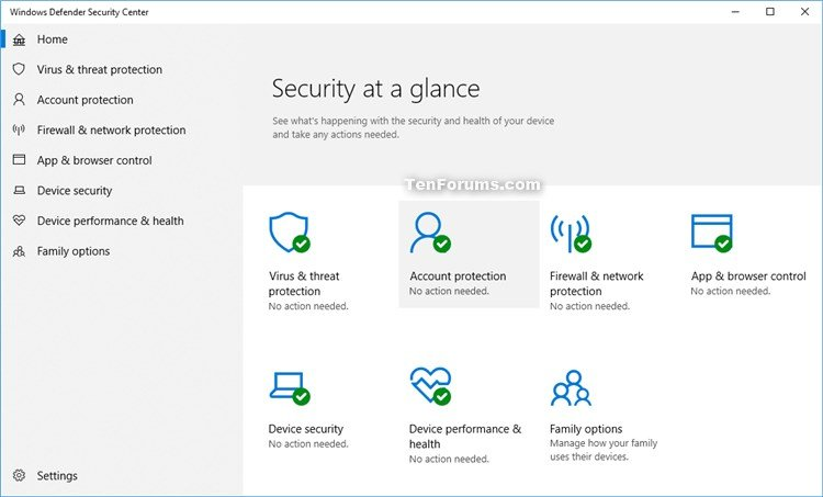 Hide Account Protection in Windows Security in Windows 10