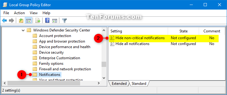Enable or Disable Notifications from Windows Security in