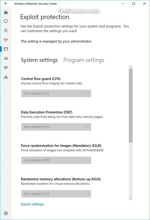 Enable or Disable Windows Defender Exploit Protection