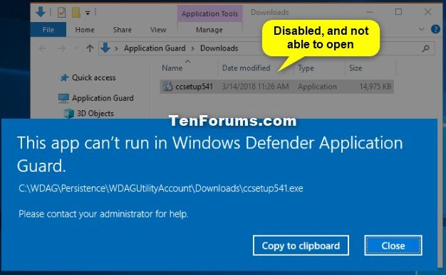Enable Download to Host from WDAG Microsoft Edge in Windows 10