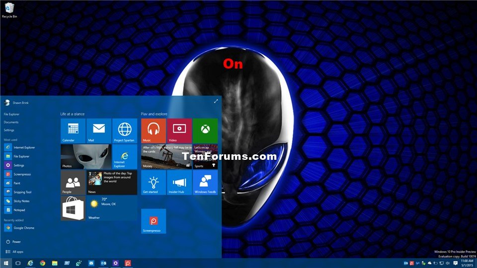 Turn On or Off Start, Taskbar, and Action Center Color in Windows ...