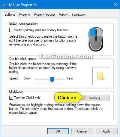 Turn On Or Off Mouse Clicklock In Windows Tutorials