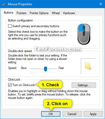 Turn On or Off Mouse ClickLock in Windows | Tutorials
