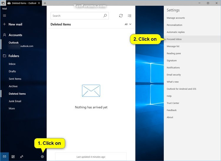 Turn On or Off Focused Inbox in Windows 10 Mail app | Tutorials