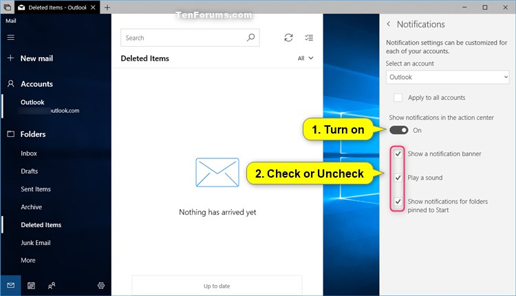 Turn On or Off Notifications from Mail app in Windows 10