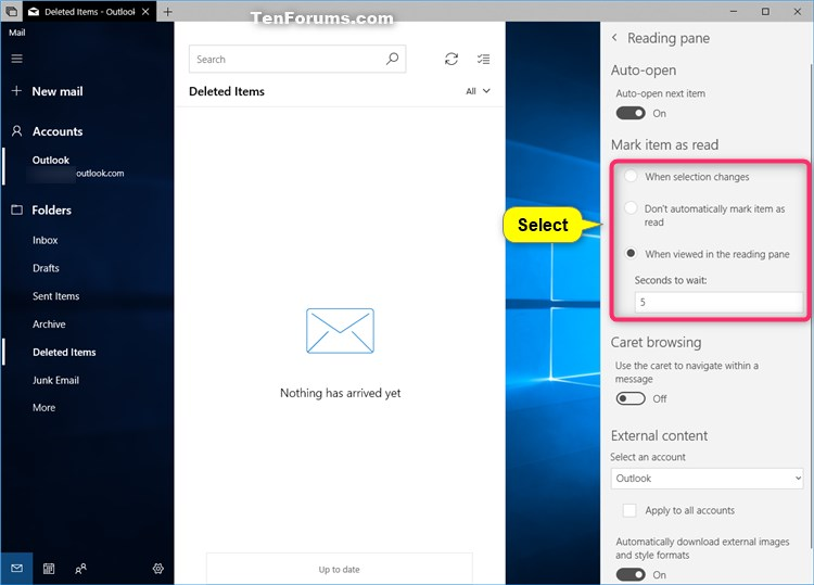 Change How to Automatically Mark Item as Read in Windows 10 Mail app-mail_reading_pane-2.jpg