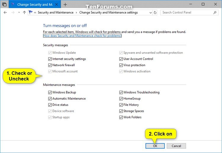 Turn On or Off Security and Maintenance Messages in Windows