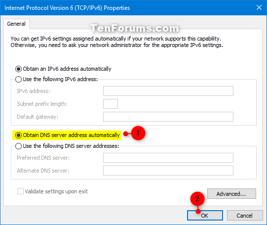 Change IPv4 and IPv6 DNS Server Address in Windows | Tutorials