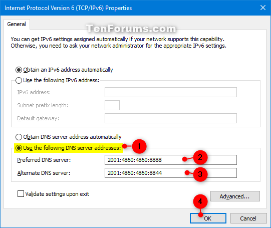 Change IPv4 and IPv6 DNS Server Address in Windows | Tutorials