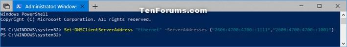 Change IPv4 and IPv6 DNS Server Address in Windows-change_ipv6_dns_address_powershell.jpg