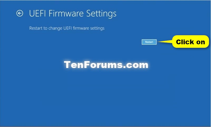Boot to UEFI Firmware Settings from inside Windows 10
