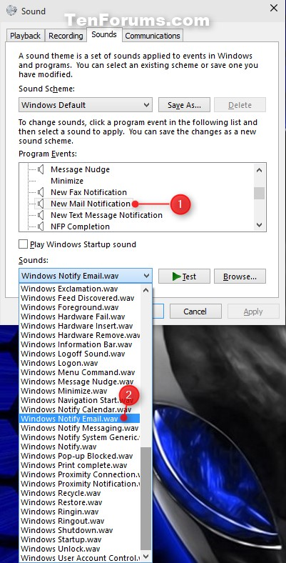 how to change startup sound on windows 10