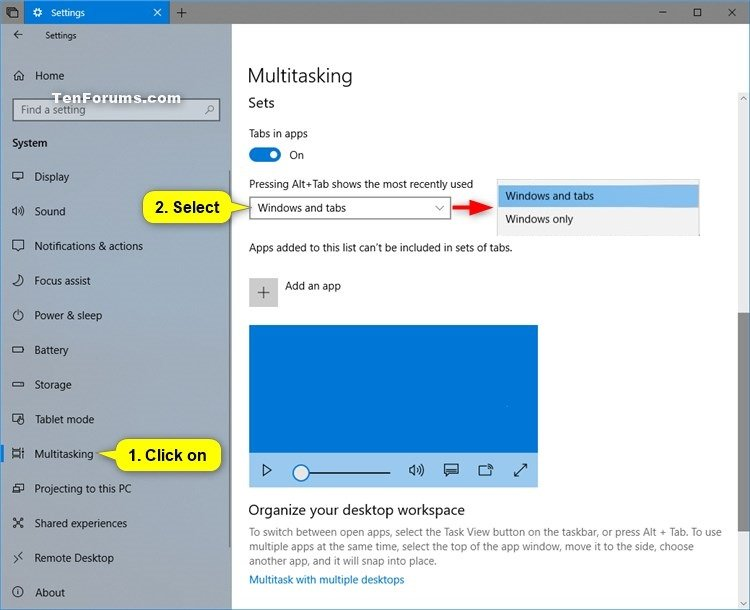 Turn On or Off Show Tabs for Sets in Alt+Tab in Windows 10 | Tutorials
