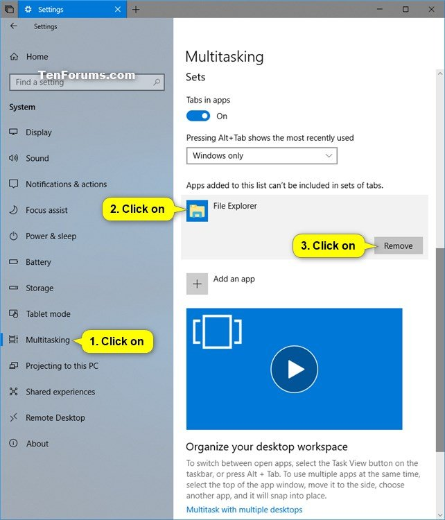 Add or Remove Apps to Not be Included in Sets of Tabs in Windows 10