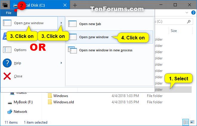 Open Each Folder in Same or New Window in Windows 10 | Tutorials
