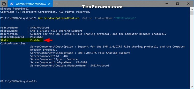Enable or Disable SMB1 File Sharing Protocol in Windows