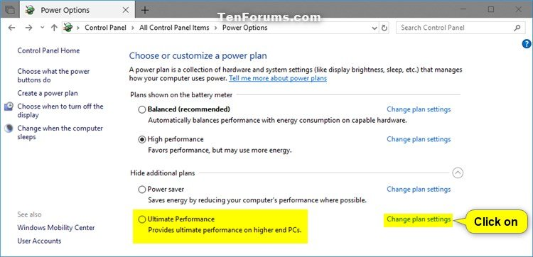 Add or Remove Ultimate Performance Power Plan in Windows 10