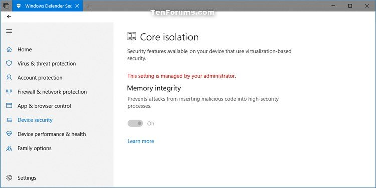 how to turn off windows 10 security features