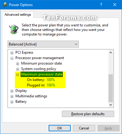 Add Or Remove Maximum Processor State From Power Options In Windows Tutorials