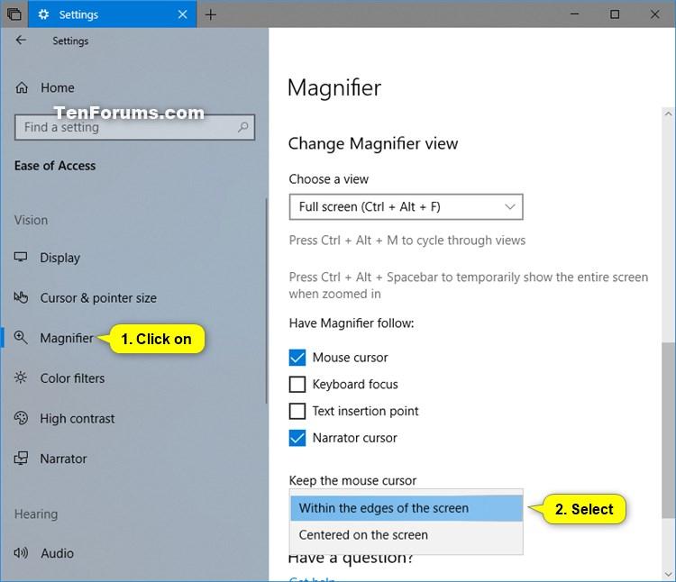 Choose Where to Keep Mouse Cursor while using Magnifier in