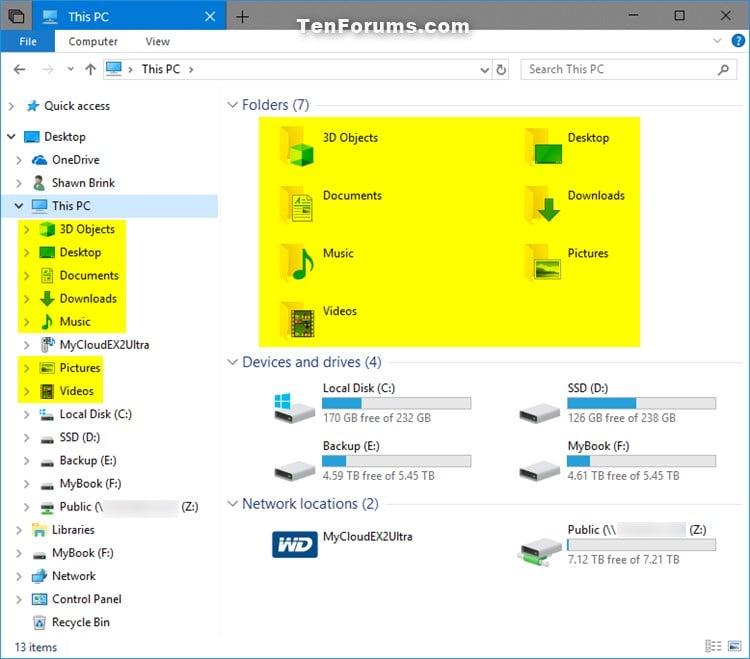 Hide or Show User Profile Personal Folders in Windows 10 File Explorer-this_pc_folders.jpg