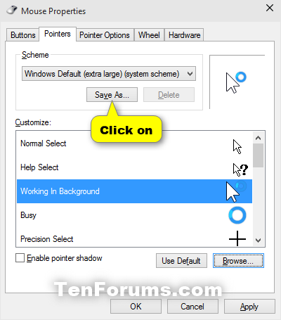Change Mouse Pointers and Change Pointer Color and Size in