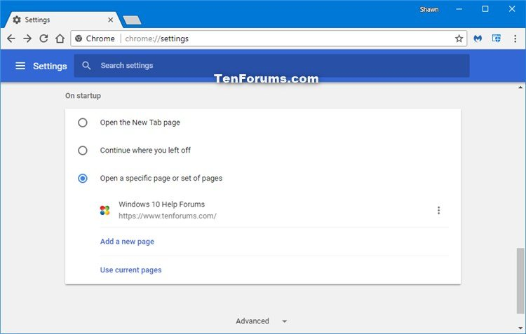 Change Startup Page in Google Chrome for Windows | Tutorials
