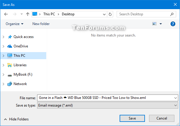 Save Email Messages in Windows 10 Mail app | Tutorials