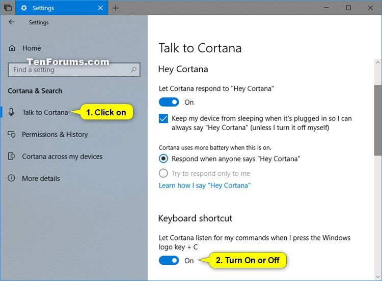 Turn On or Off Cortana Listen Keyboard Shortcut in Windows 10