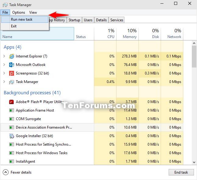 Restart explorer.exe Process in Windows 10-start_explorer_in_task_manager-1.png