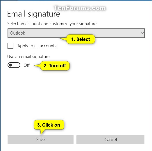Turn On or Off Signature in Windows 10 Mail app | Tutorials
