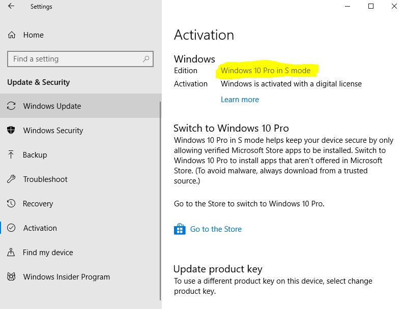Mode s windows 10
