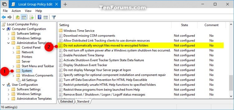 Disable Auto Encrypt Files Moved to EFS Encrypted Folders in Windows
